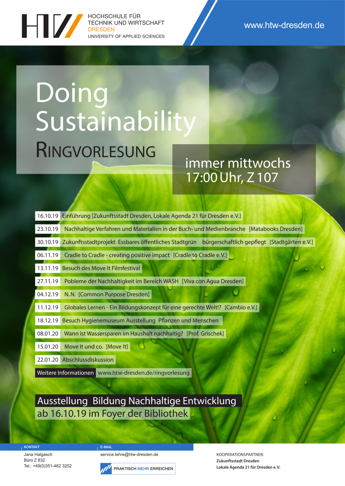 "Ringvorlesung ""Doing Sustainability"" an der HTW Dresden"